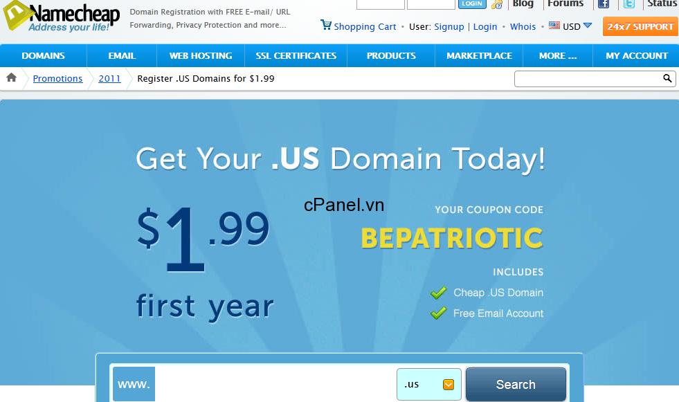 Đăng ký tên miền .us chỉ với $1.99 tại NameCheap